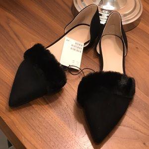 H&M black faux fur Flats pointed toe Size 10